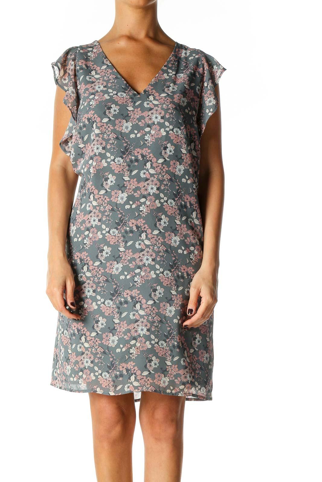 Gray Floral Print Holiday Shift Dress Front
