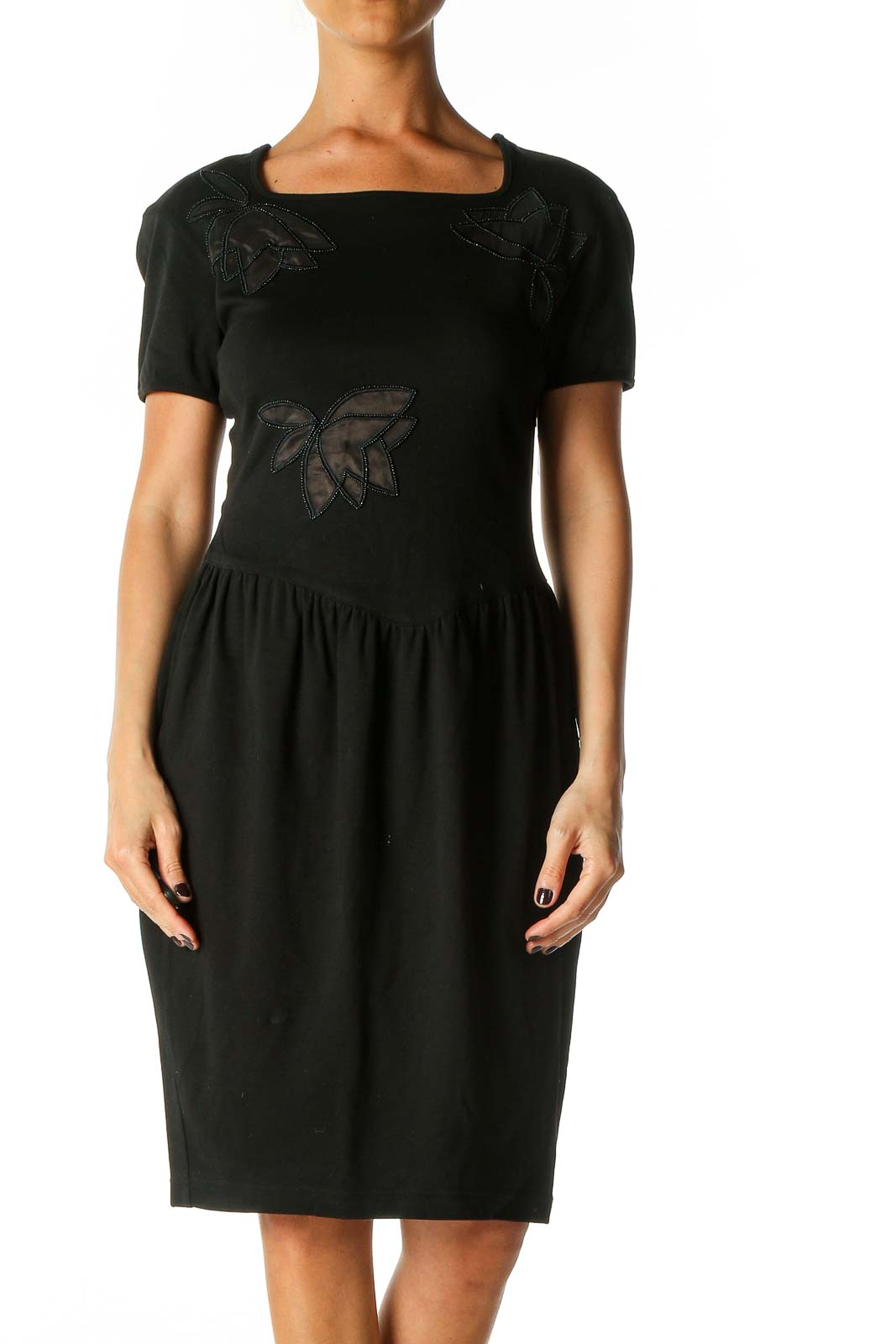 Black Solid Cocktail Sheath Dress Front