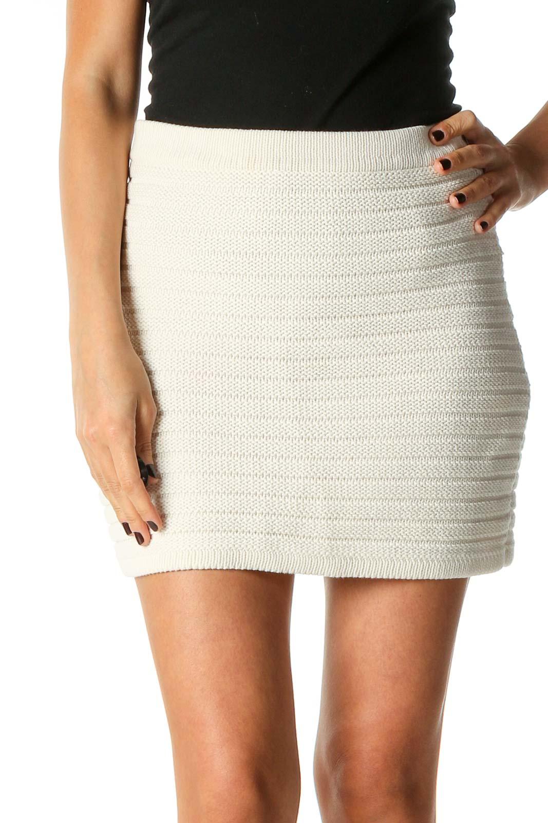 White Textured Chic Skirt Front