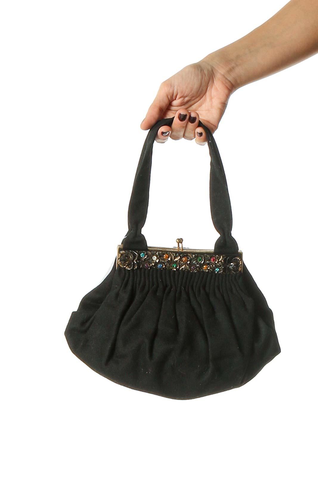 Black Clasp Handbag Front