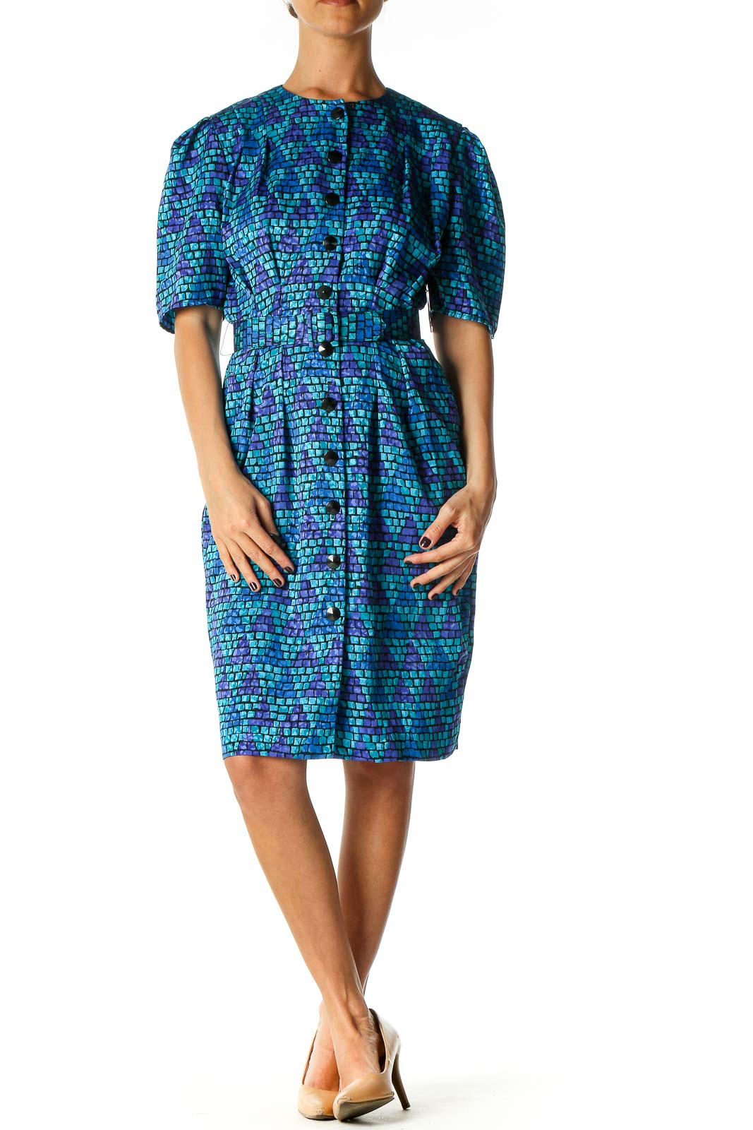 Blue Geometric Print Day Shift Dress Front