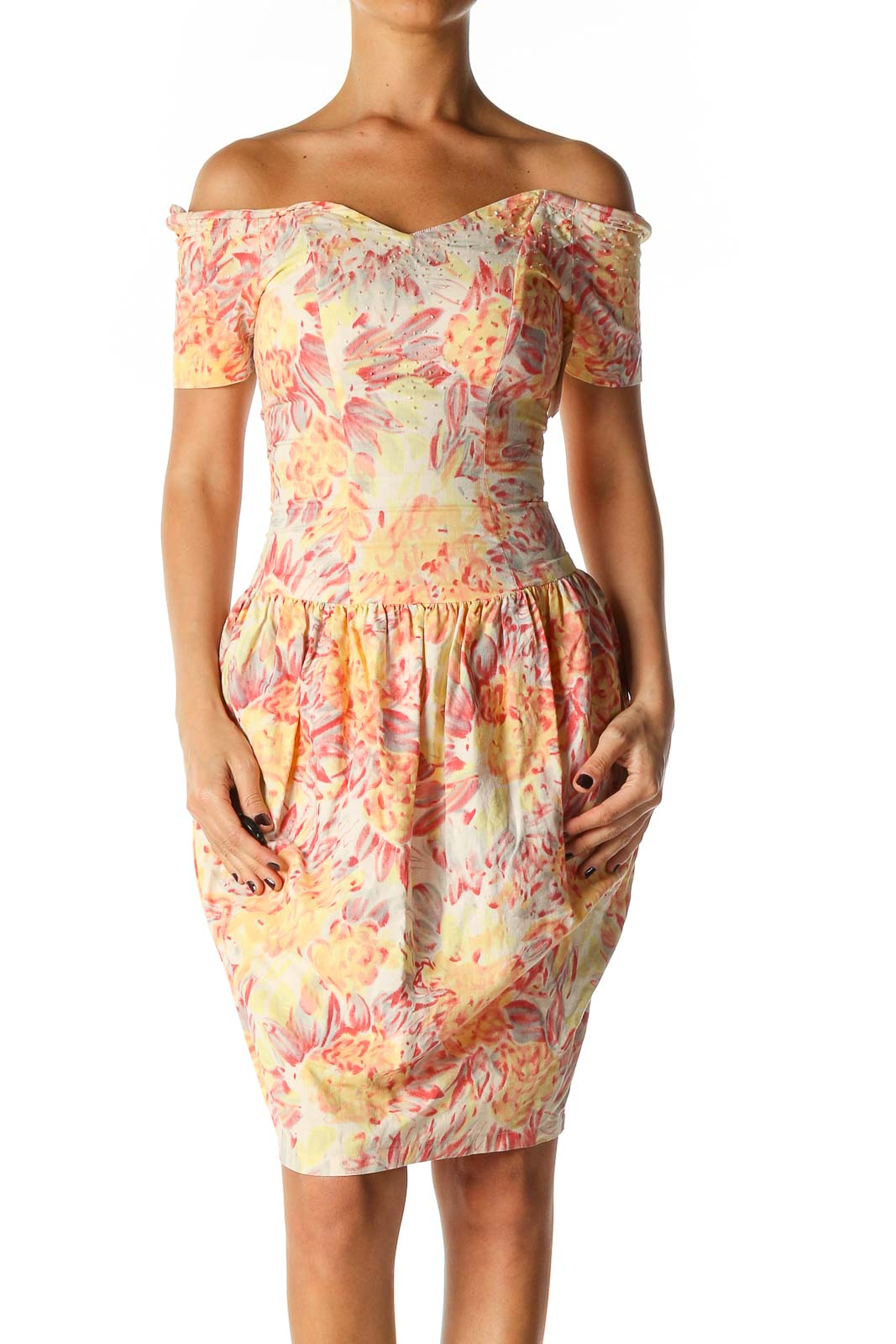 Orange Floral Print Retro Sheath Dress Front