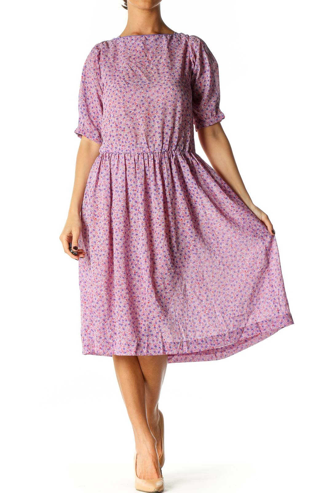 Pink Floral Print Retro Fit & Flare Dress Front
