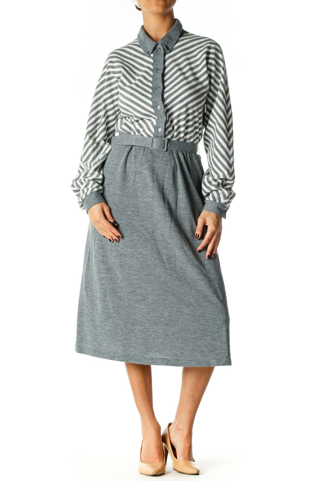 Gray Casual Fit & Flare Dress Front