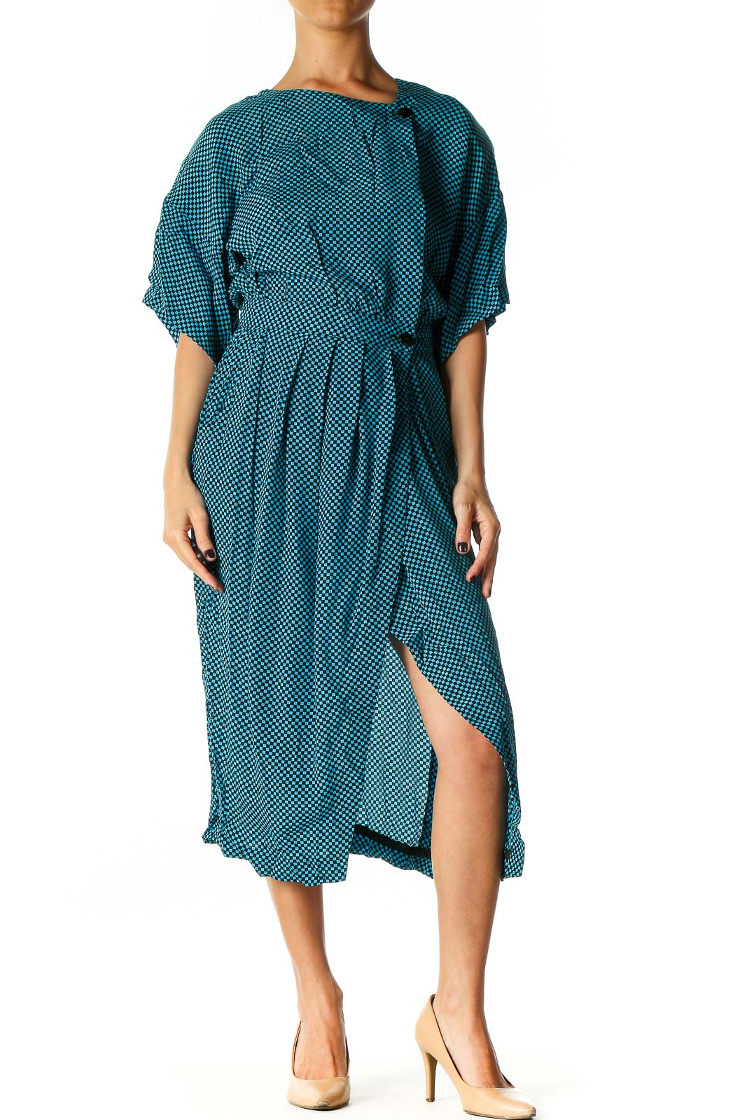 Blue Polka Dot Casual Shift Dress Front