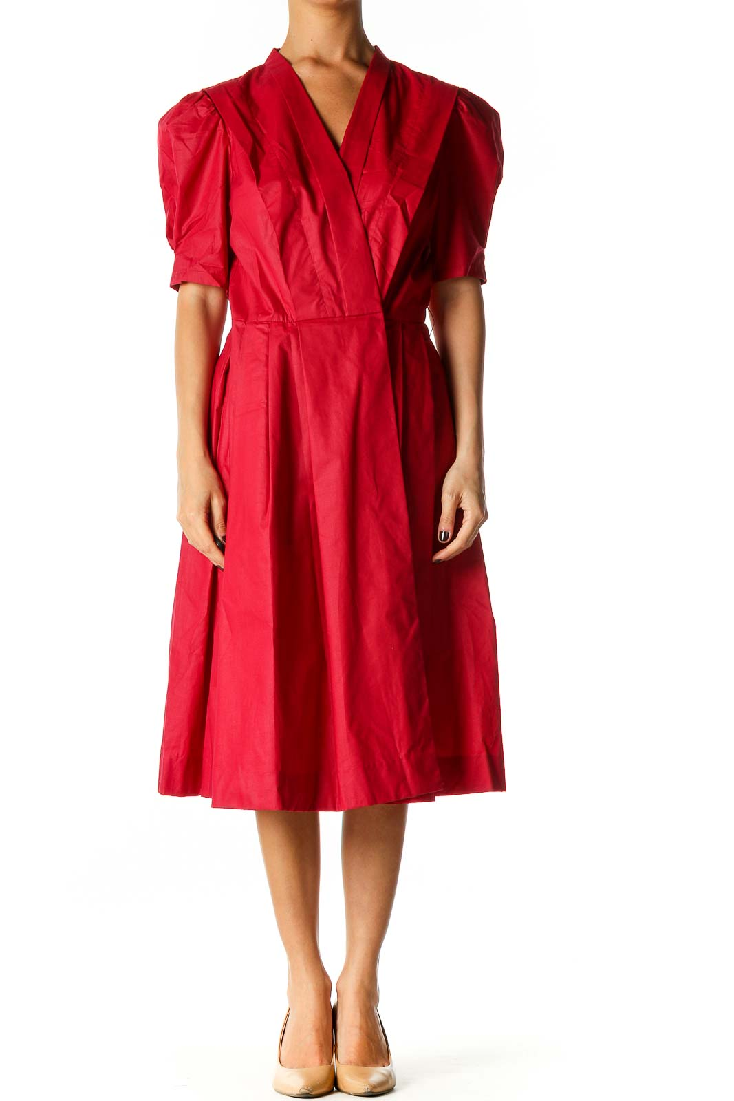 Red Solid Retro Fit & Flare Dress Front