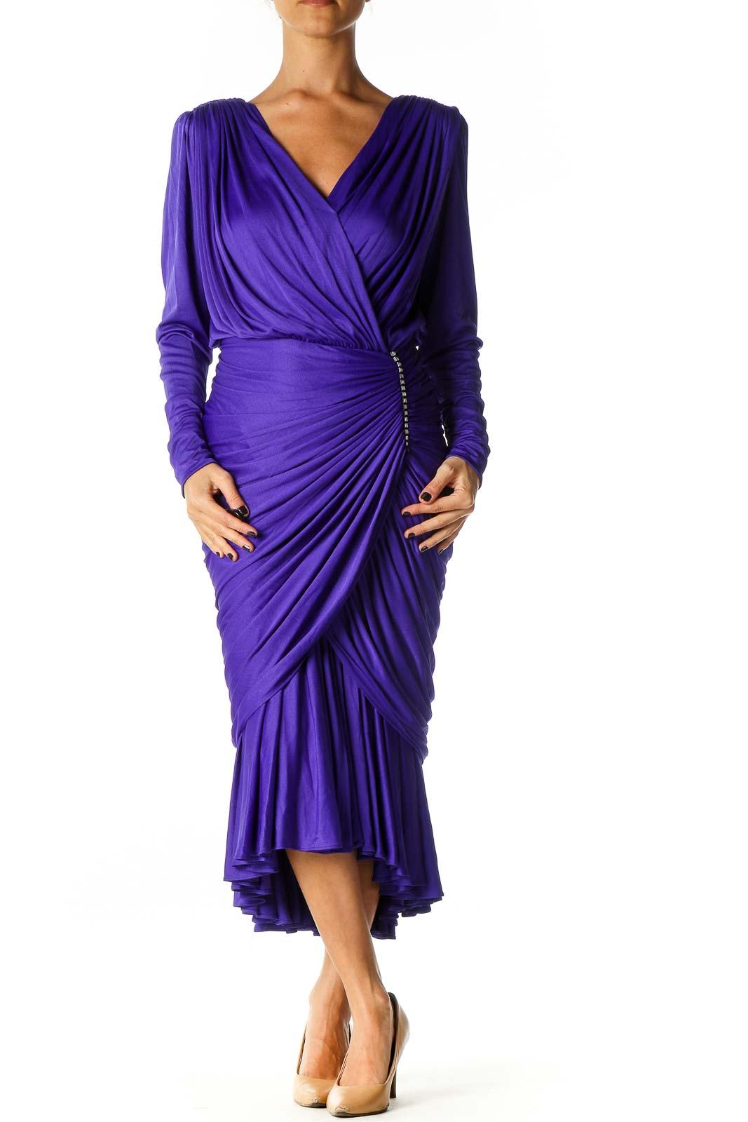 Purple Solid Column Dress Front