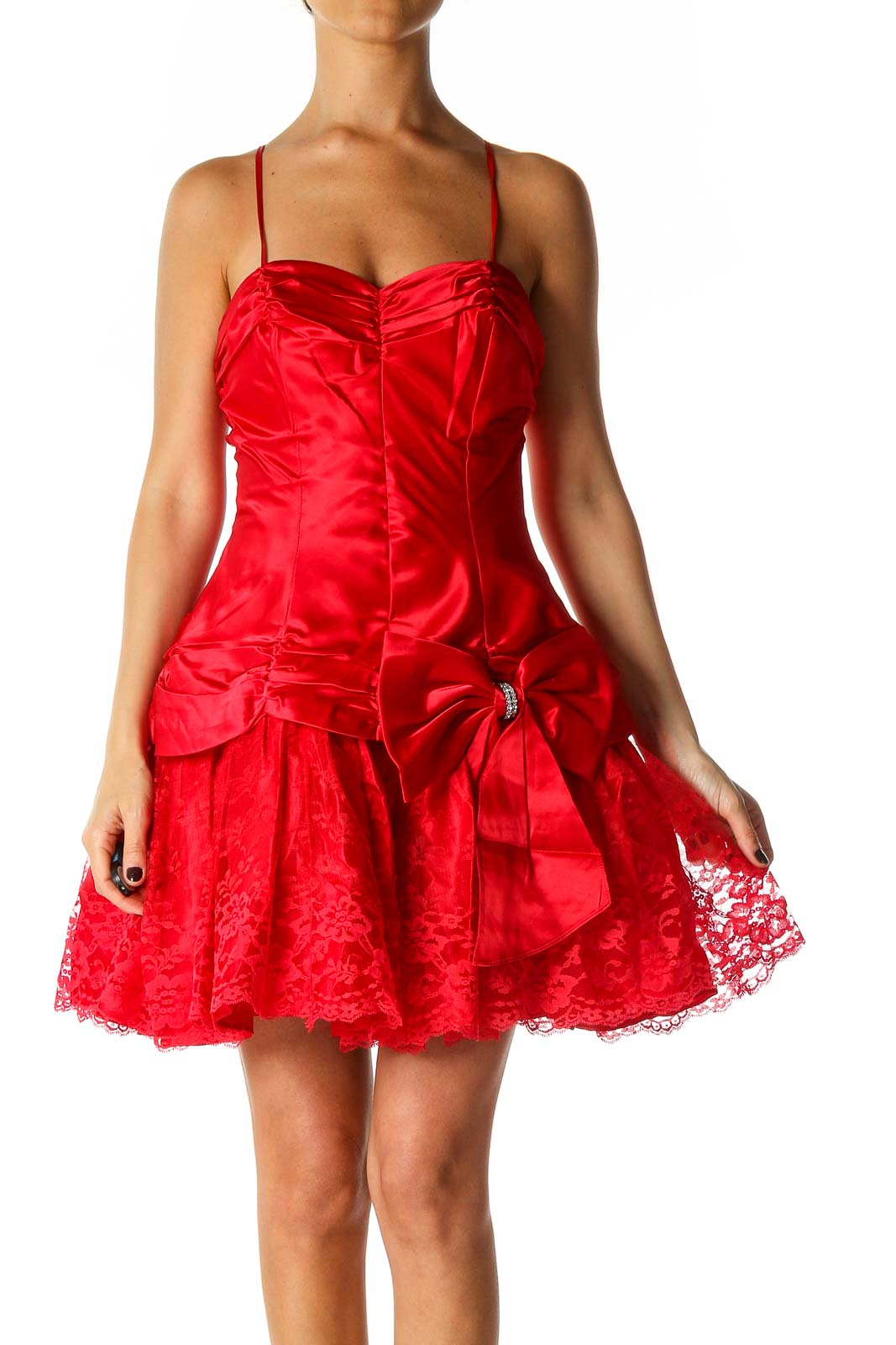 Red Solid Casual Fit & Flare Dress Front
