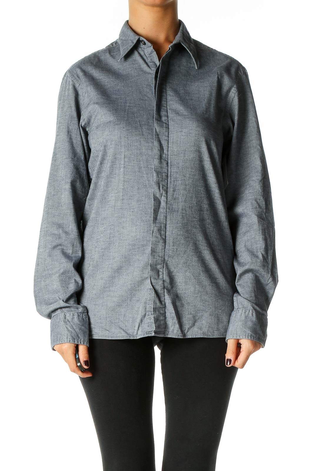 Gray Solid All Day Wear Shirt Front