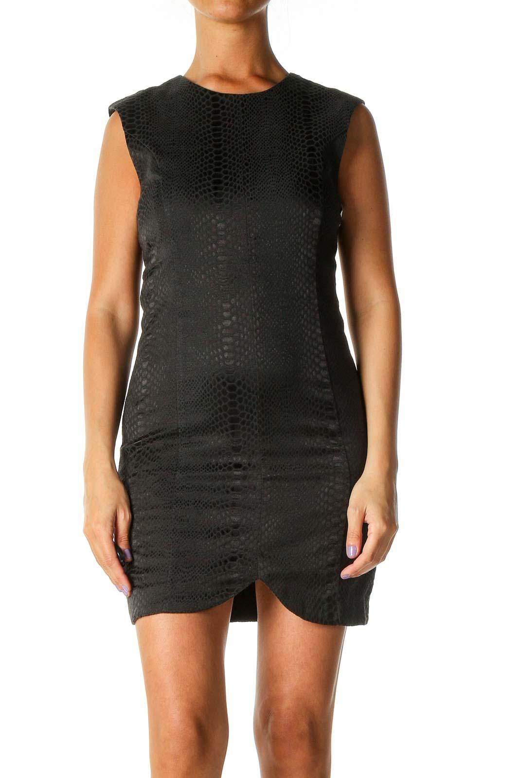 Black Textured Cocktail Sheath Dress Front