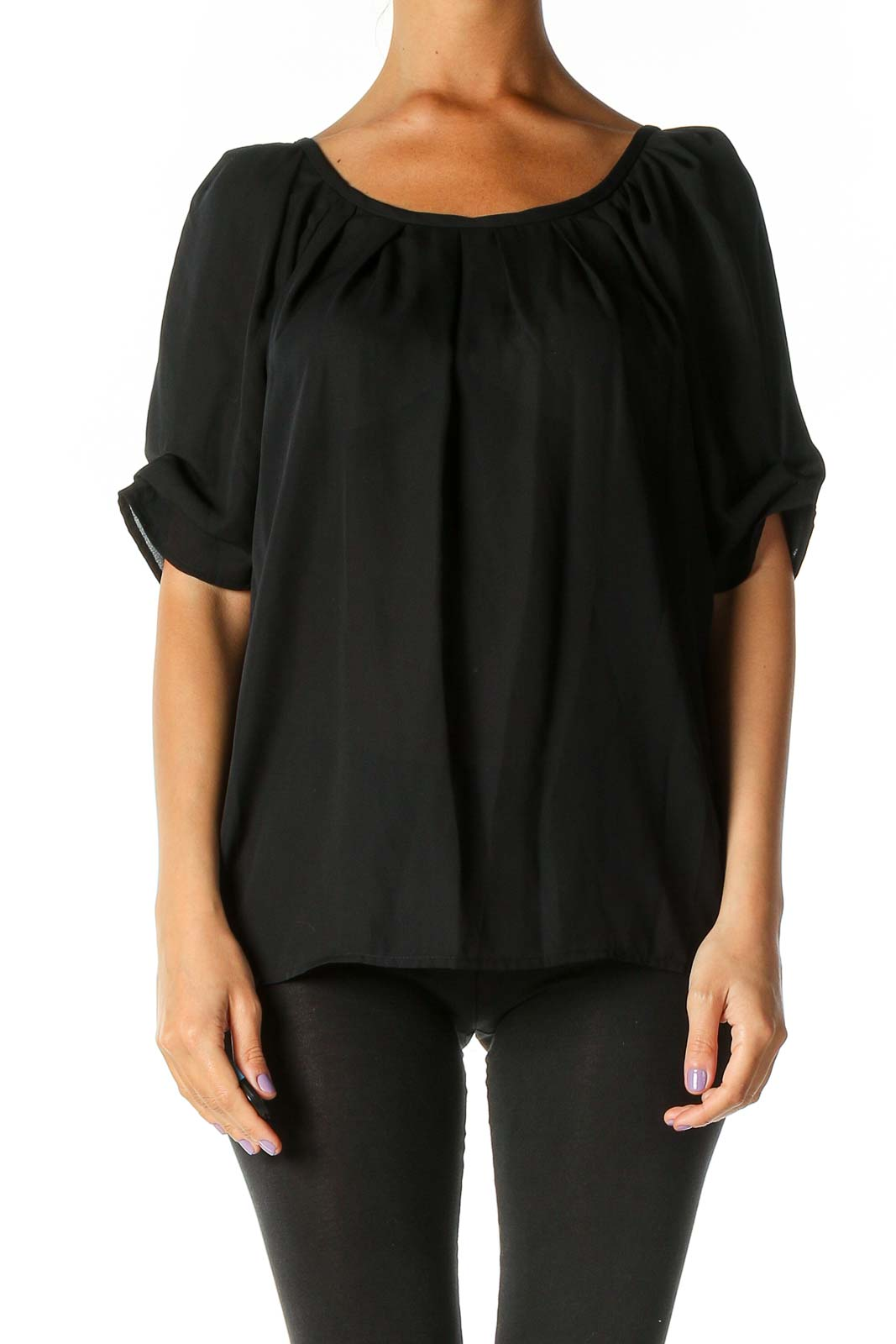 Black Solid Blouse Front