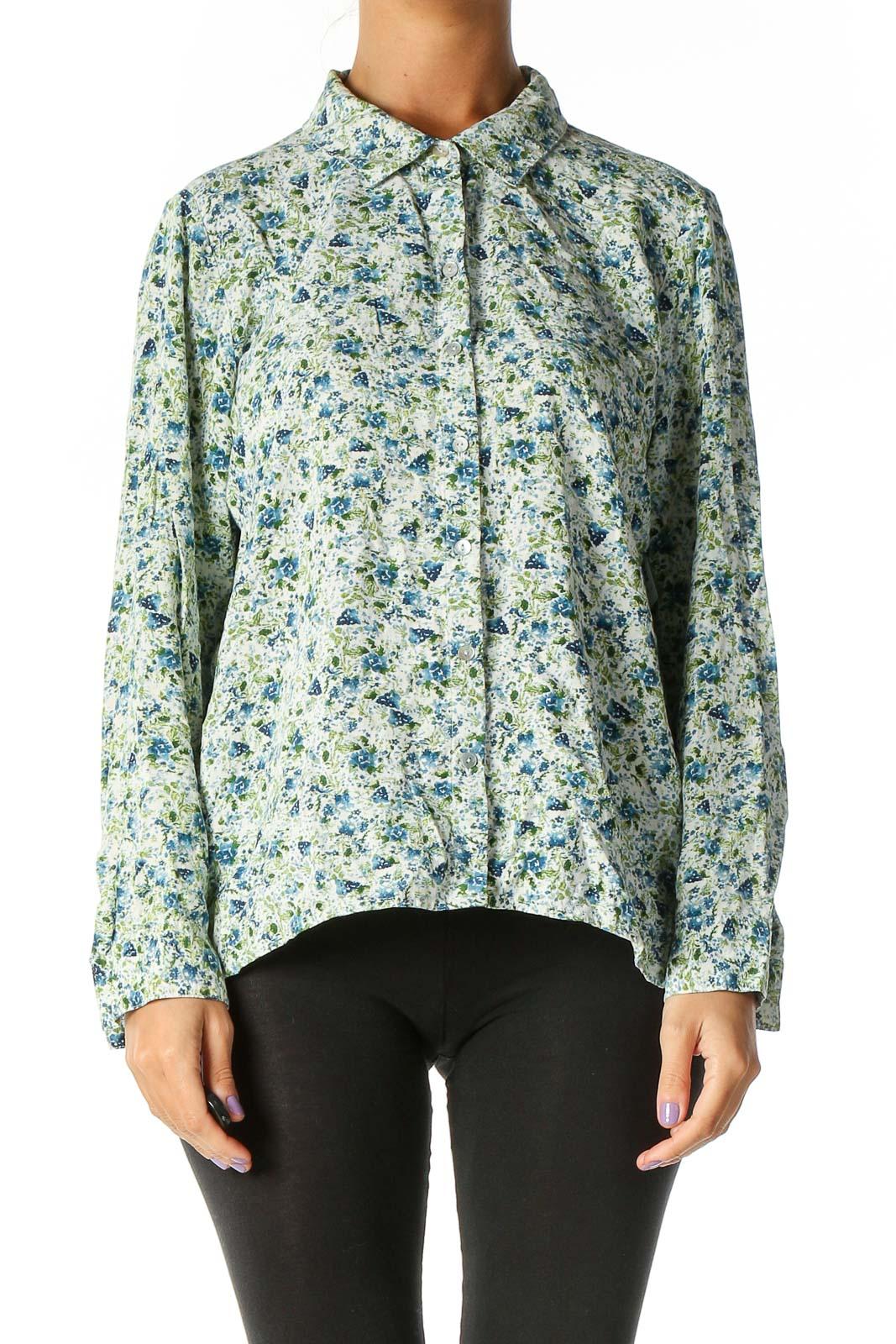 Blue Floral Print Retro Blouse Front