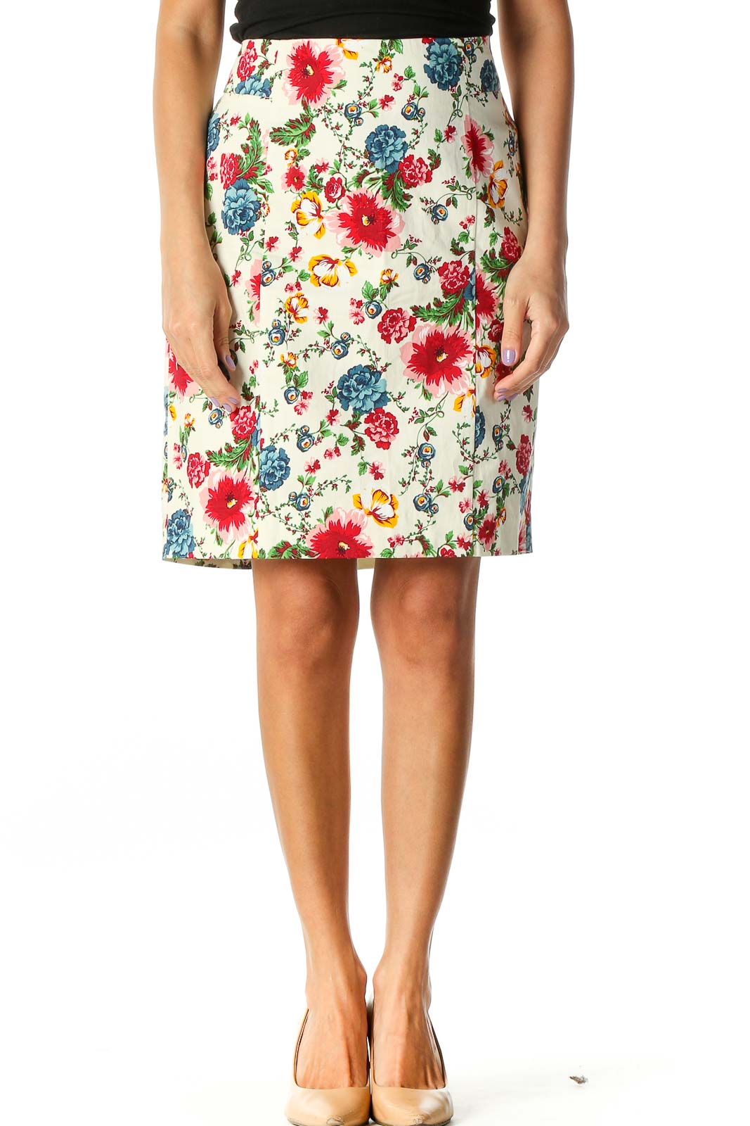 Beige Floral Print Retro Straight Skirt Front