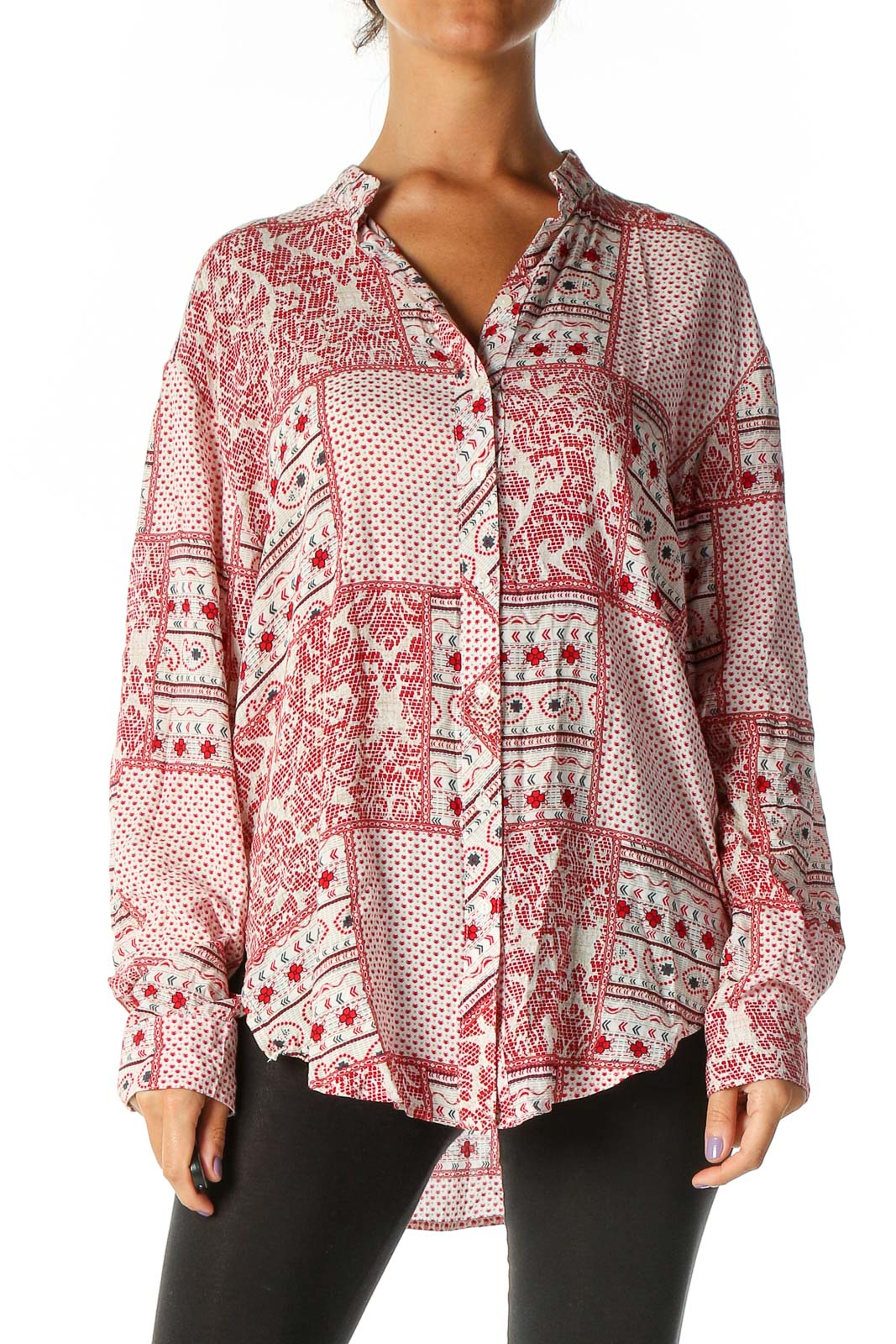 Red All Day Wear Blouse Front