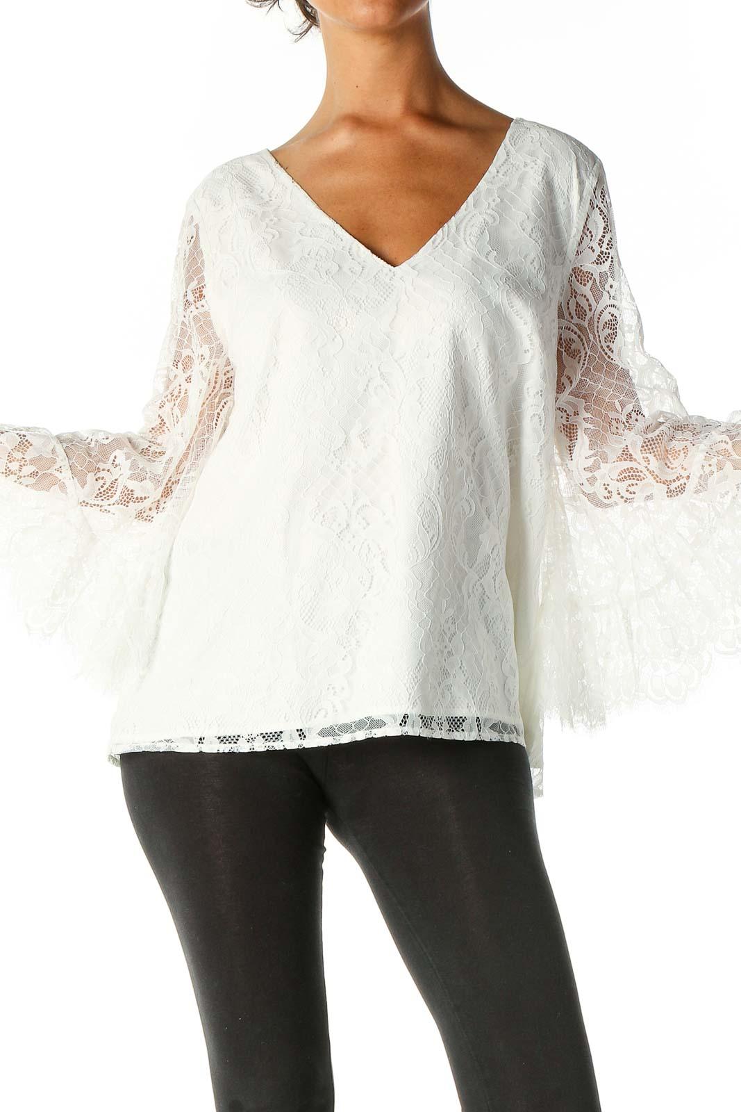 White Lace Retro Blouse Front