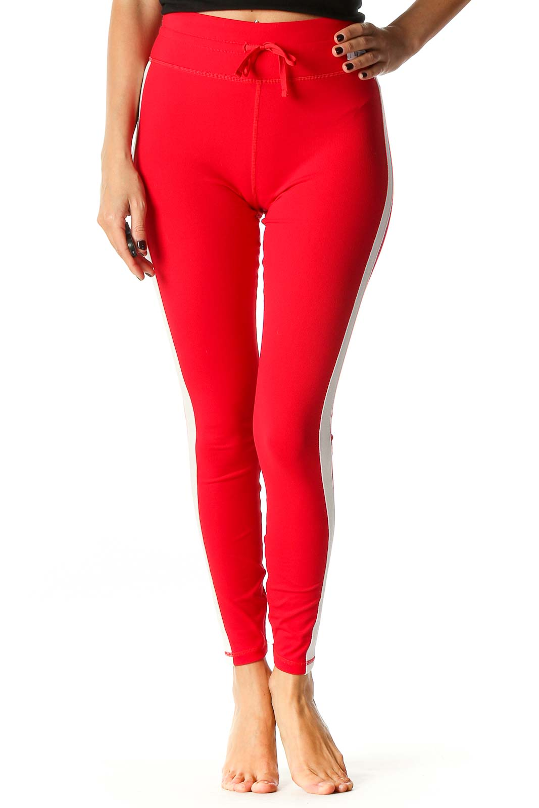 Red Solid Casual Leggings Front