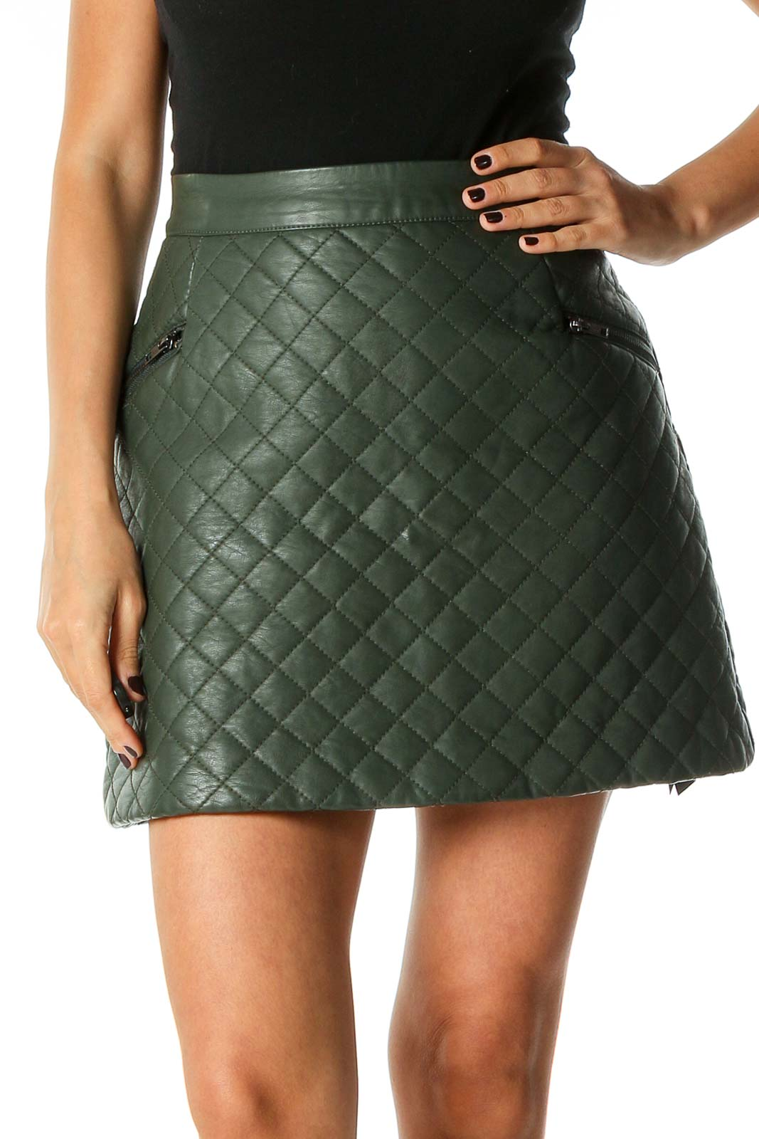 Green Quilted Chic A-Line Skirt Front