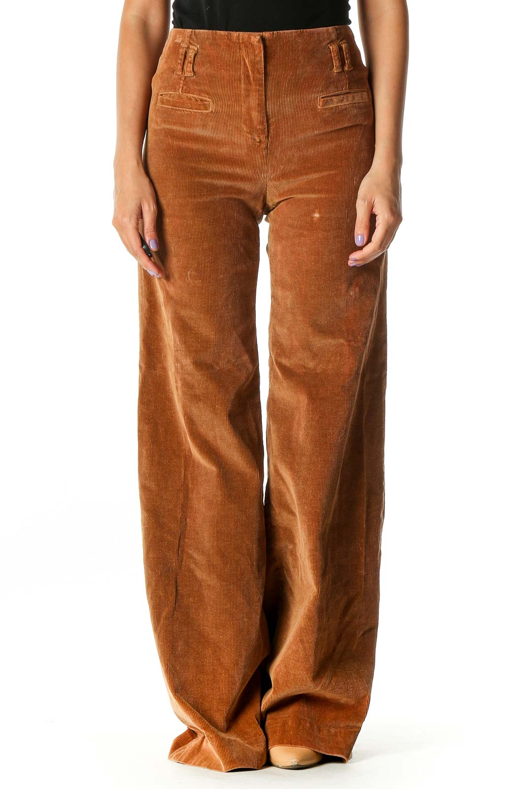Brown Textured Casual Cargos Pants Front