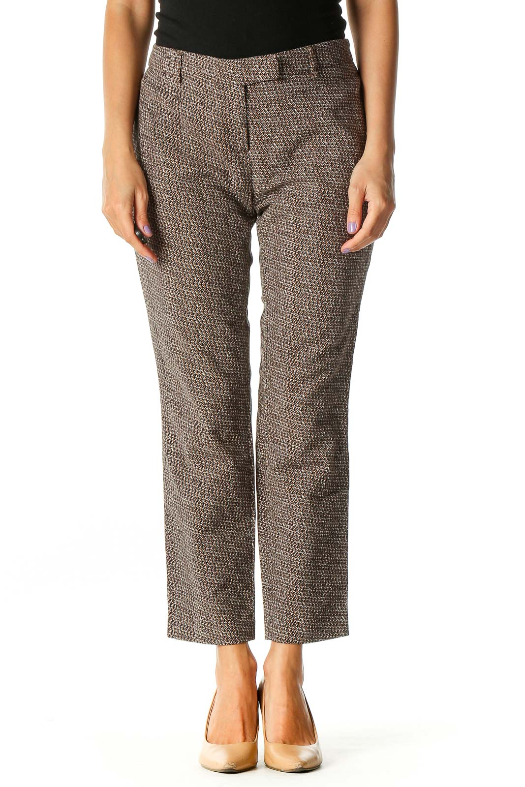 Brown Geometric Print Casual Trousers Front