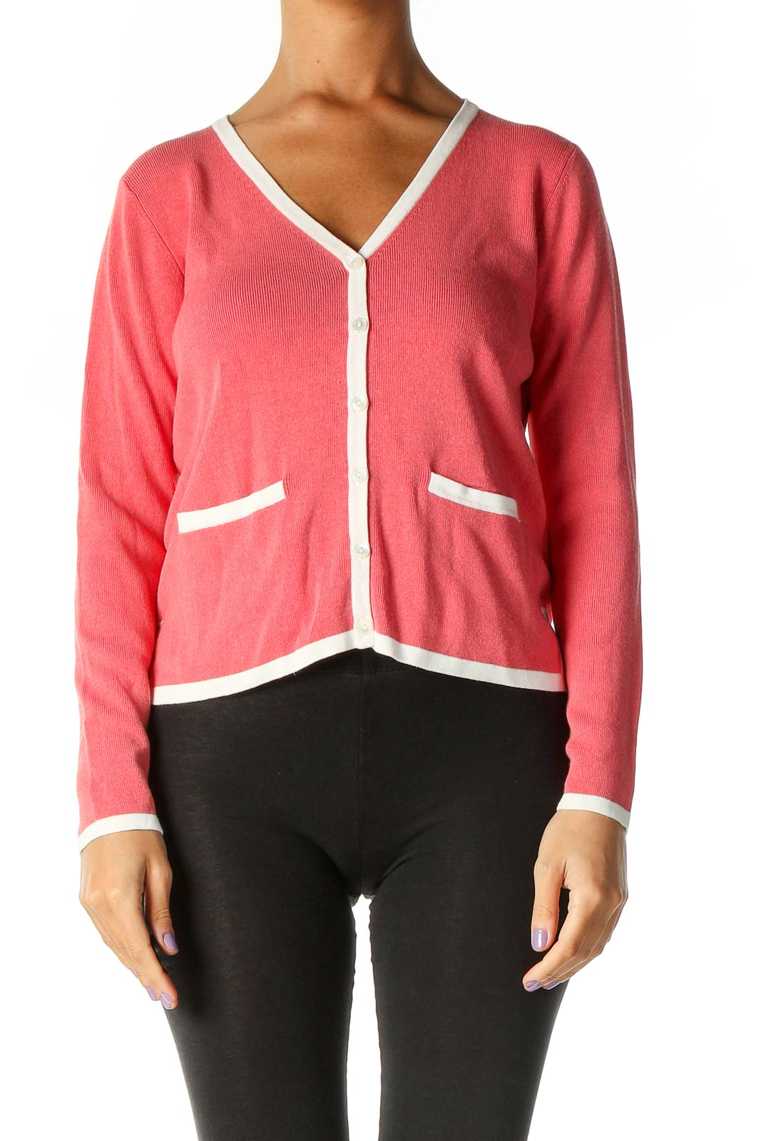 Pink Solid Cardigan Front