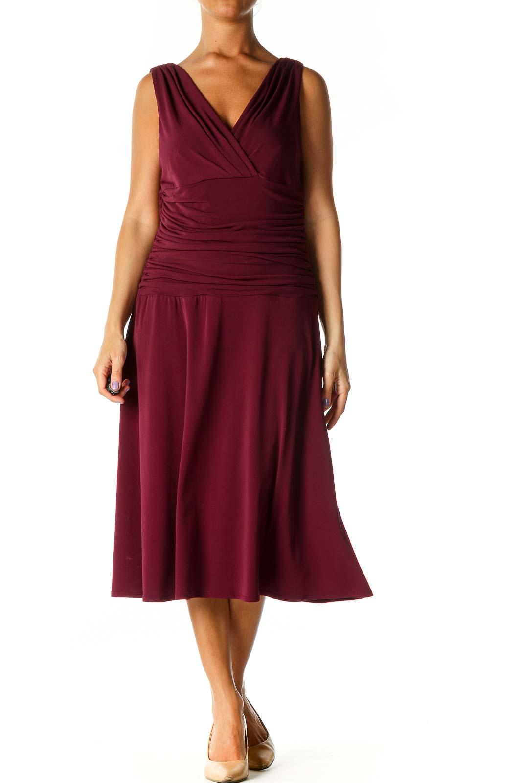 Purple Solid Casual A-Line Dress Front