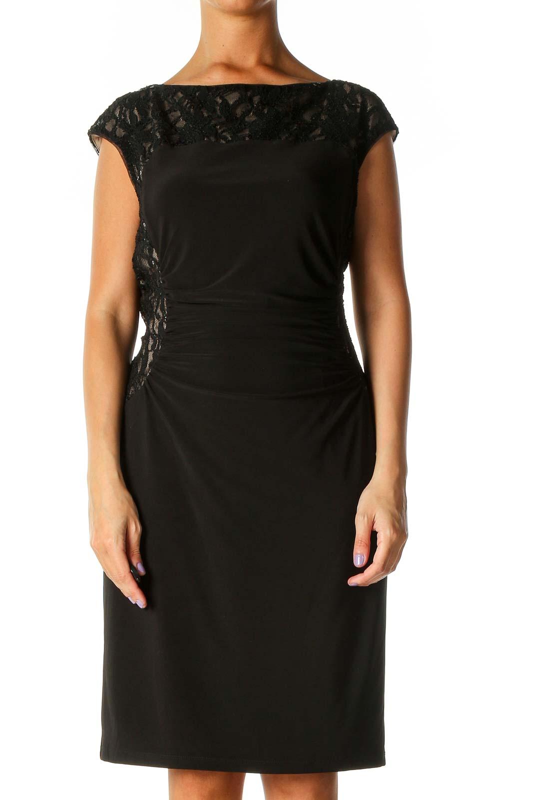 Black Lace Retro A-Line Dress Front