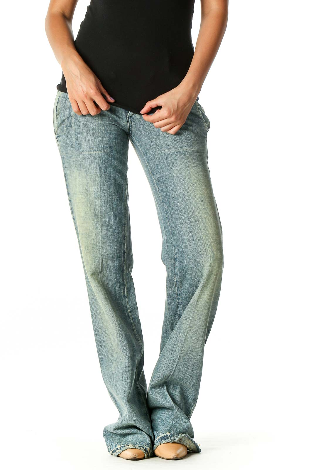 Blue Straight Leg Jeans Front