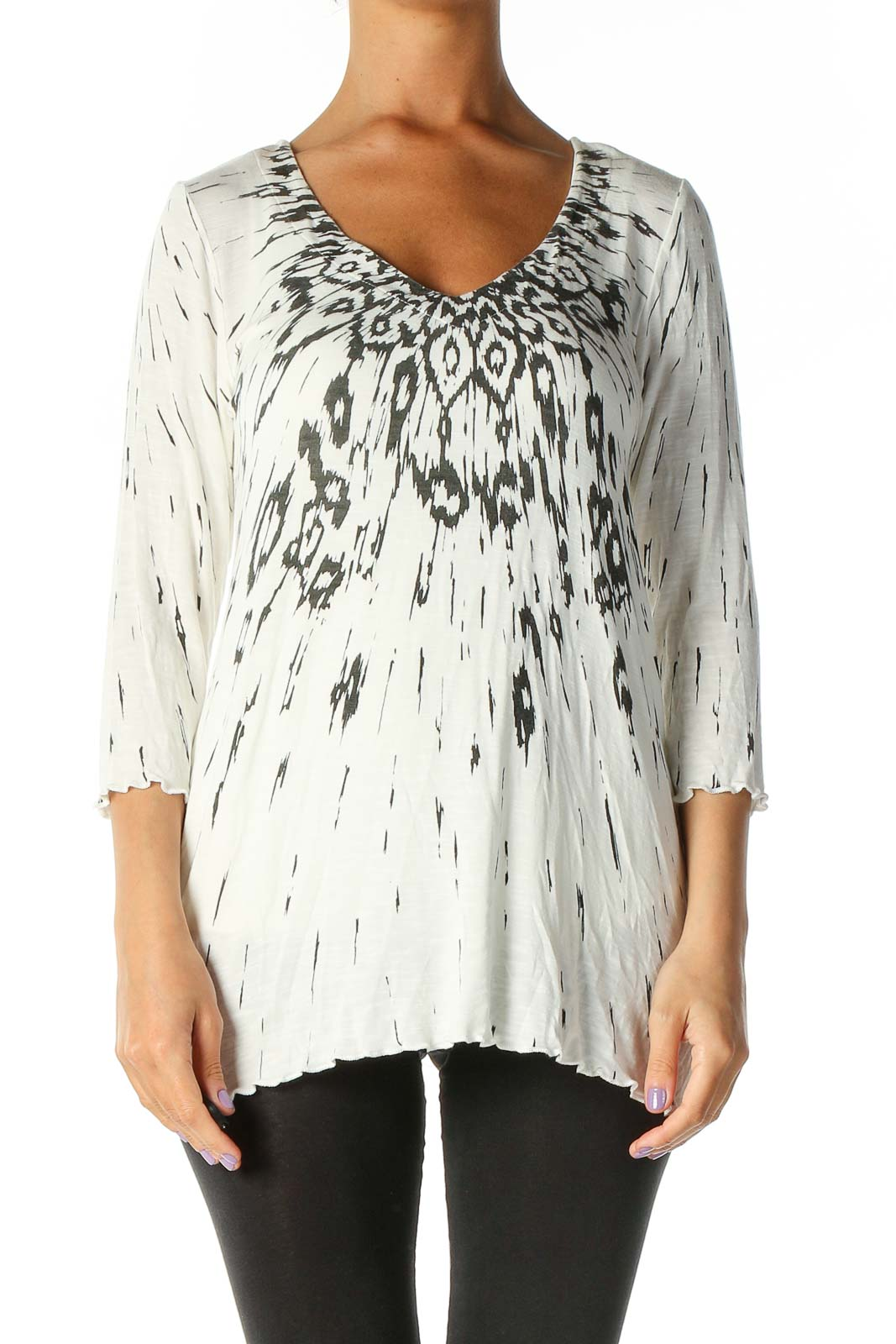 White Graphic Print Blouse Front