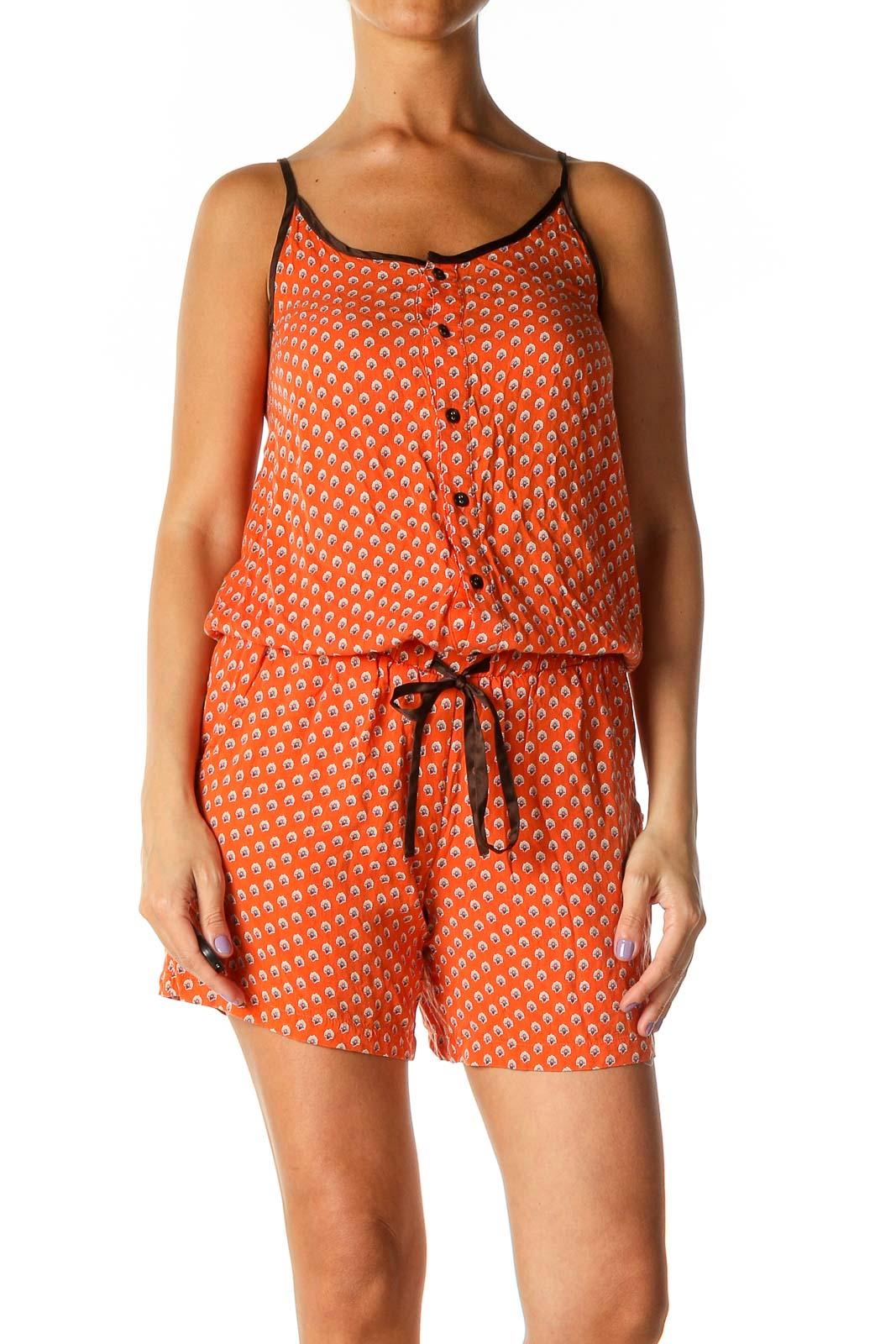 Orange Spots Objects Romper Front
