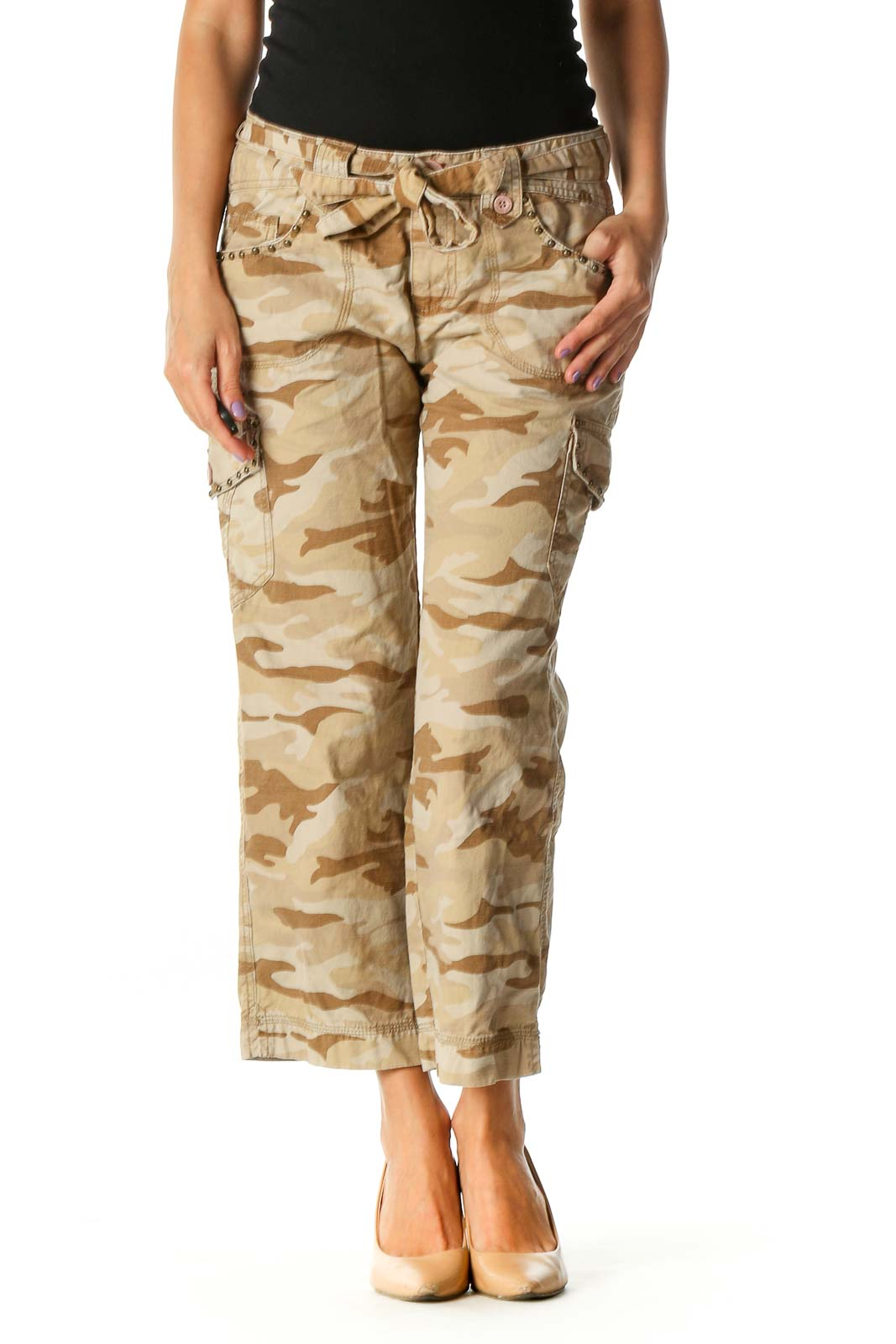 Beige Camouflage Print Casual Cargos Pants Front