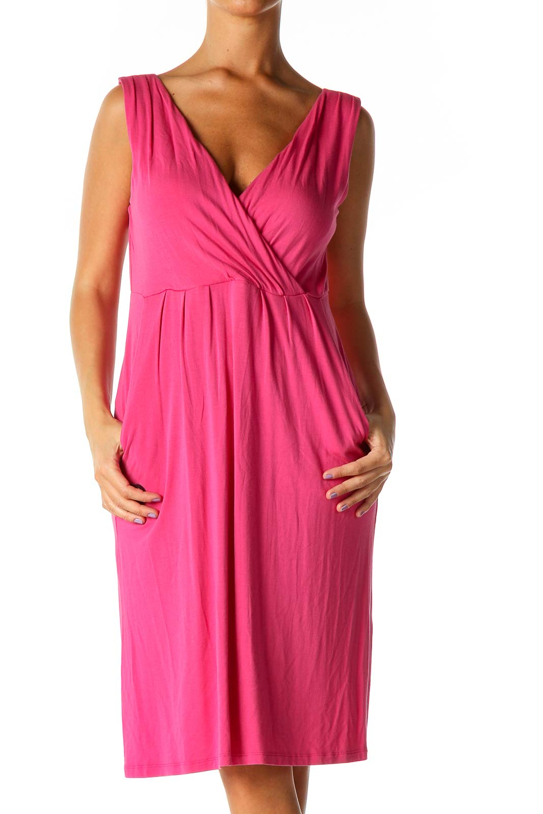 Pink Solid Casual Column Dress Front