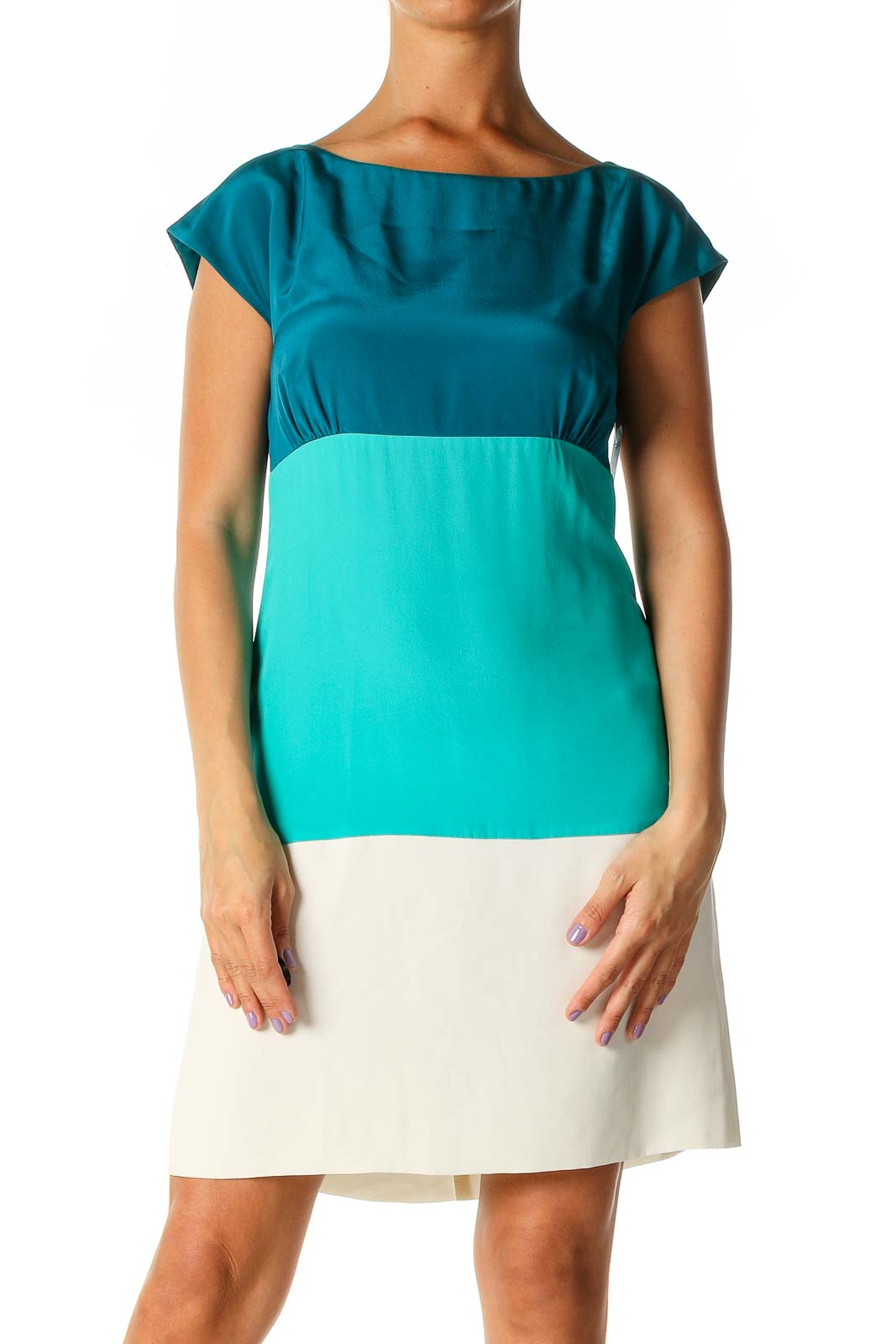 Blue Colorblock Casual A-Line Dress Front