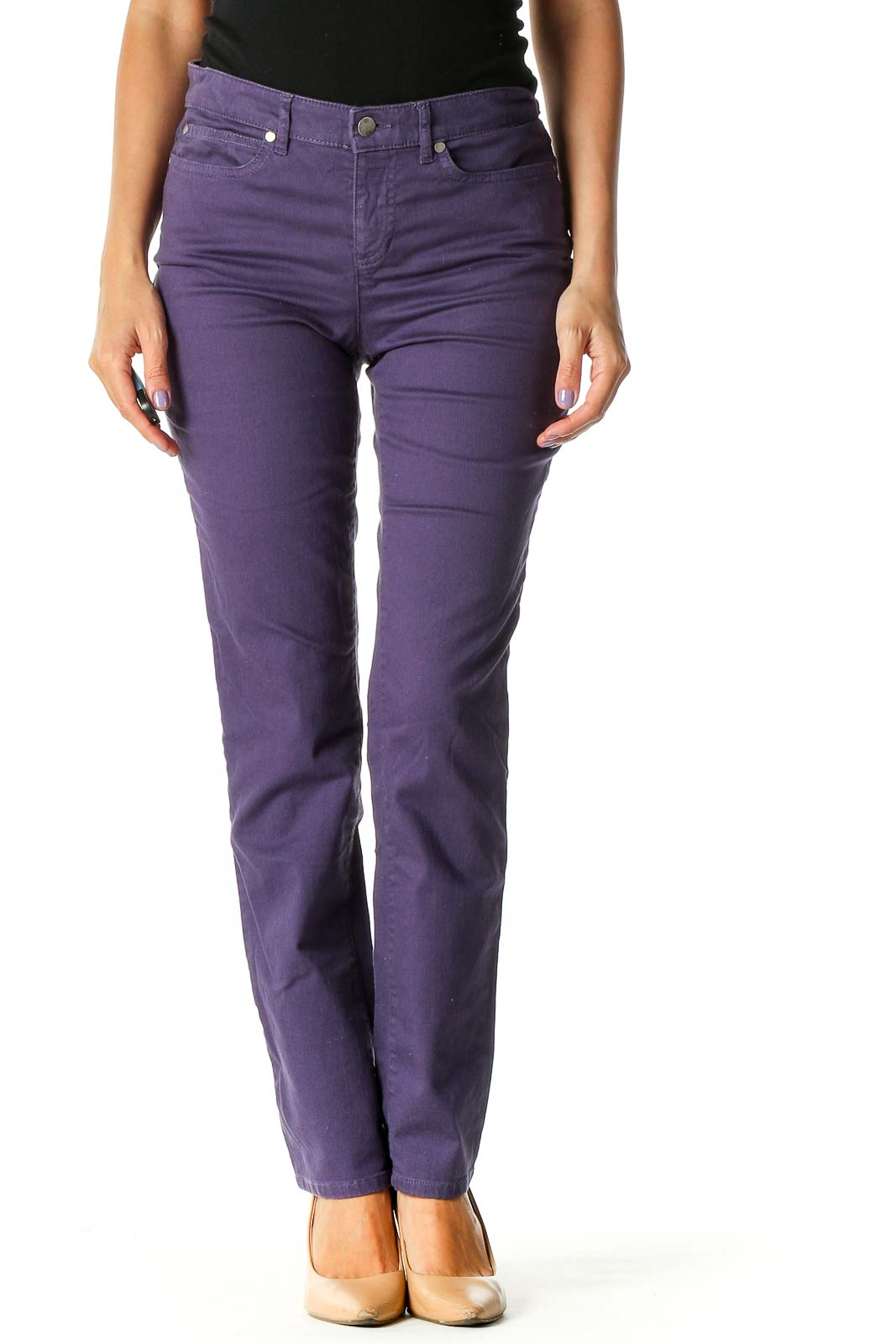 Purple Casual Straight Leg Jeans Front