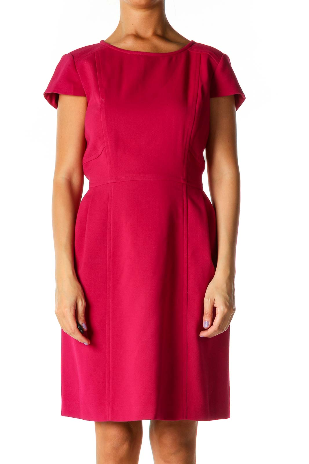 Pink Solid Work A-Line Dress Front