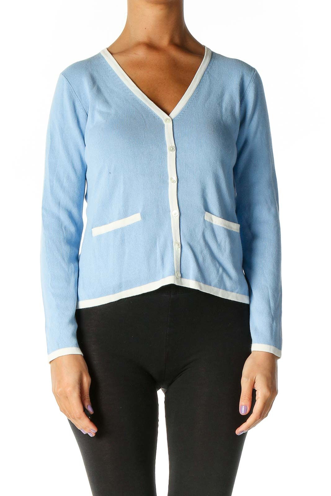 Blue Solid Cardigan Front