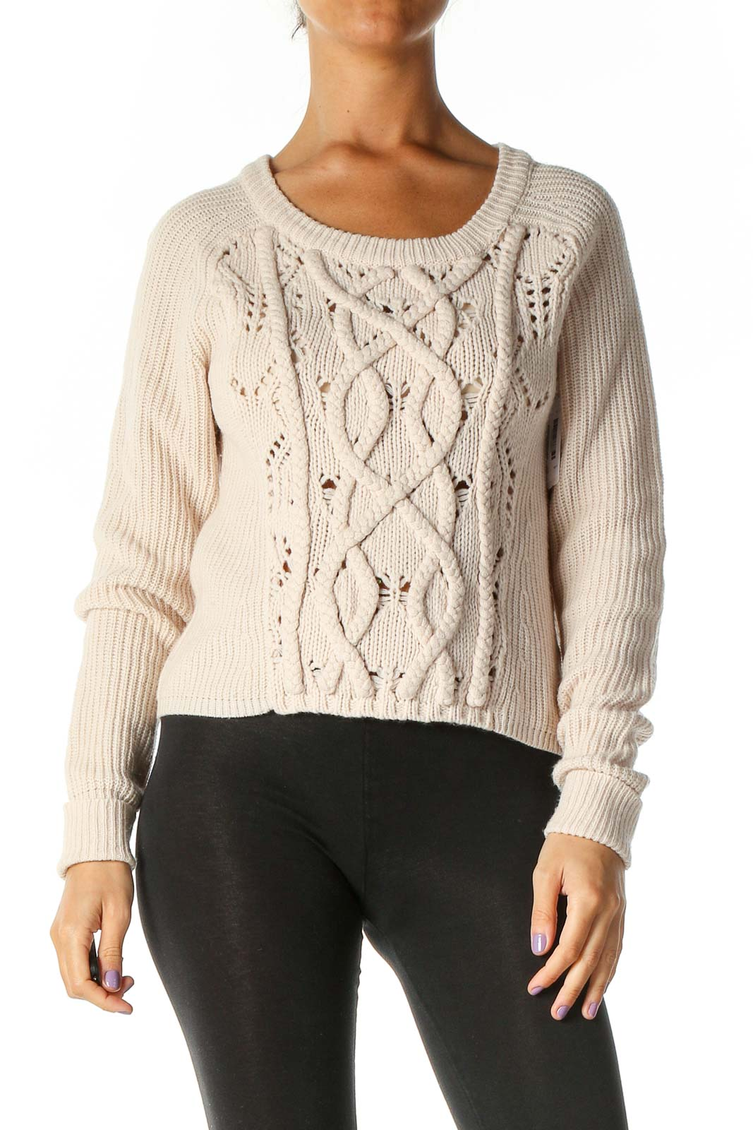 Beige Casual Sweater Front
