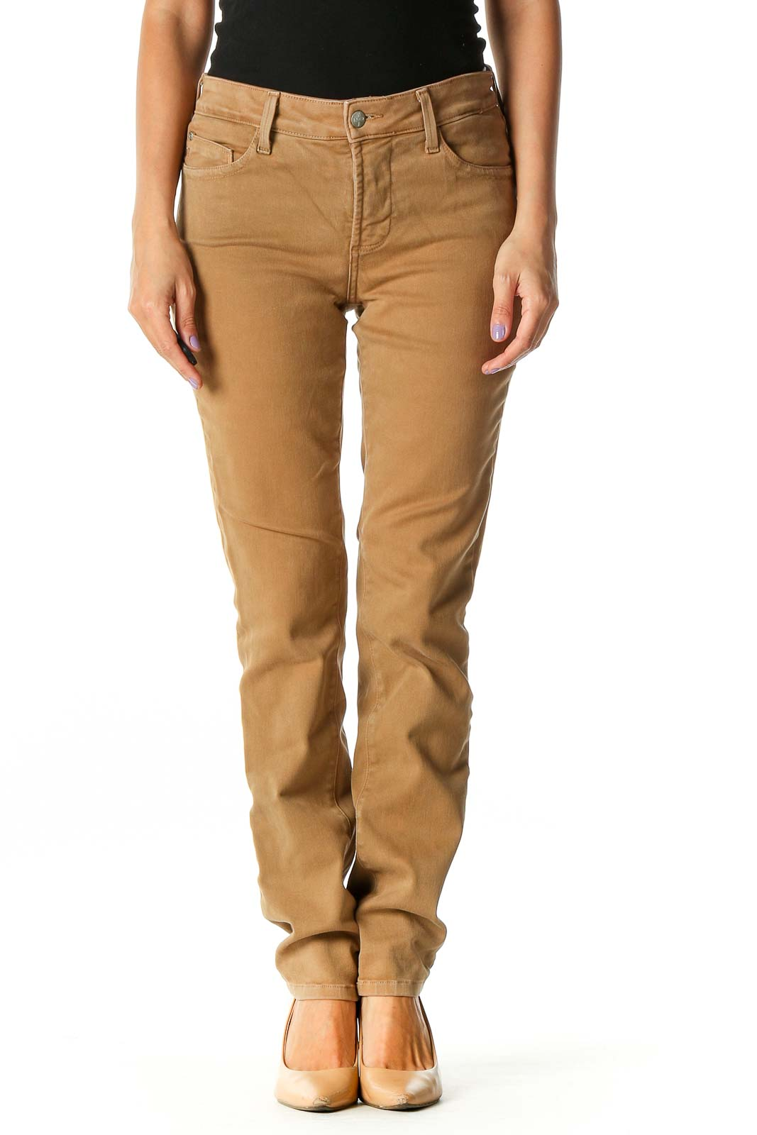 Brown Casual Straight Leg Jeans Front