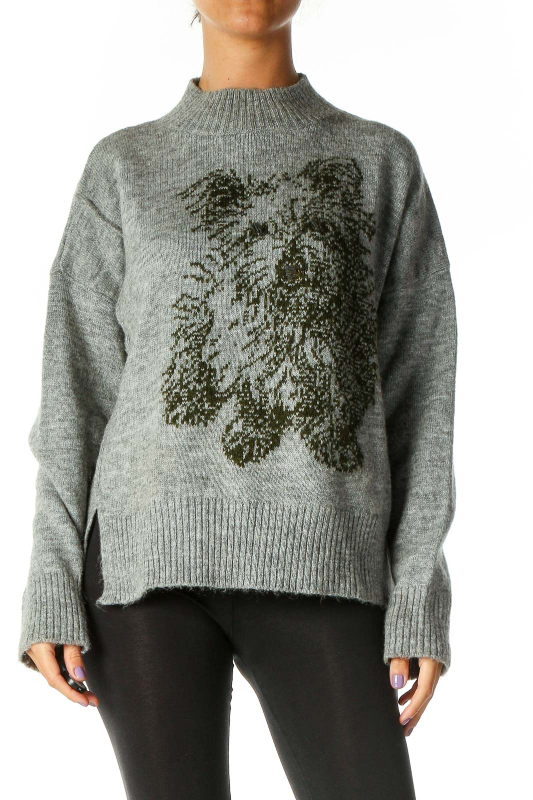 Gray Textured Sweater Front