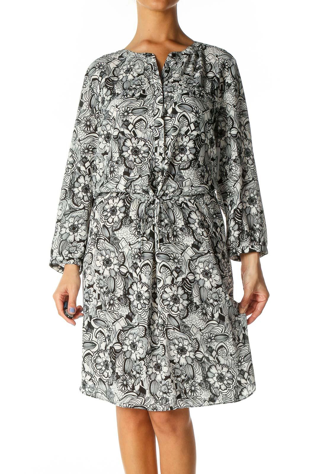 White Floral Print Bohemian A-Line Dress Front