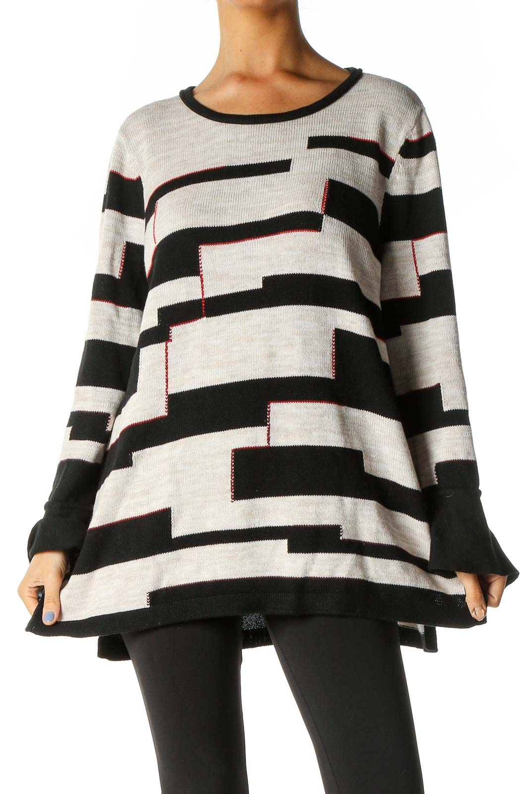 Black Geometric Print Casual Sweater Front