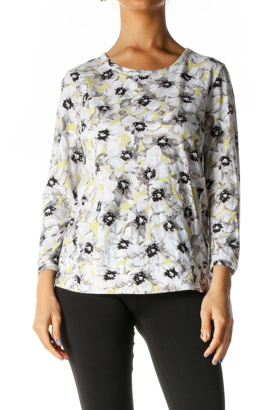 White Floral Print All Day Wear Blouse Front