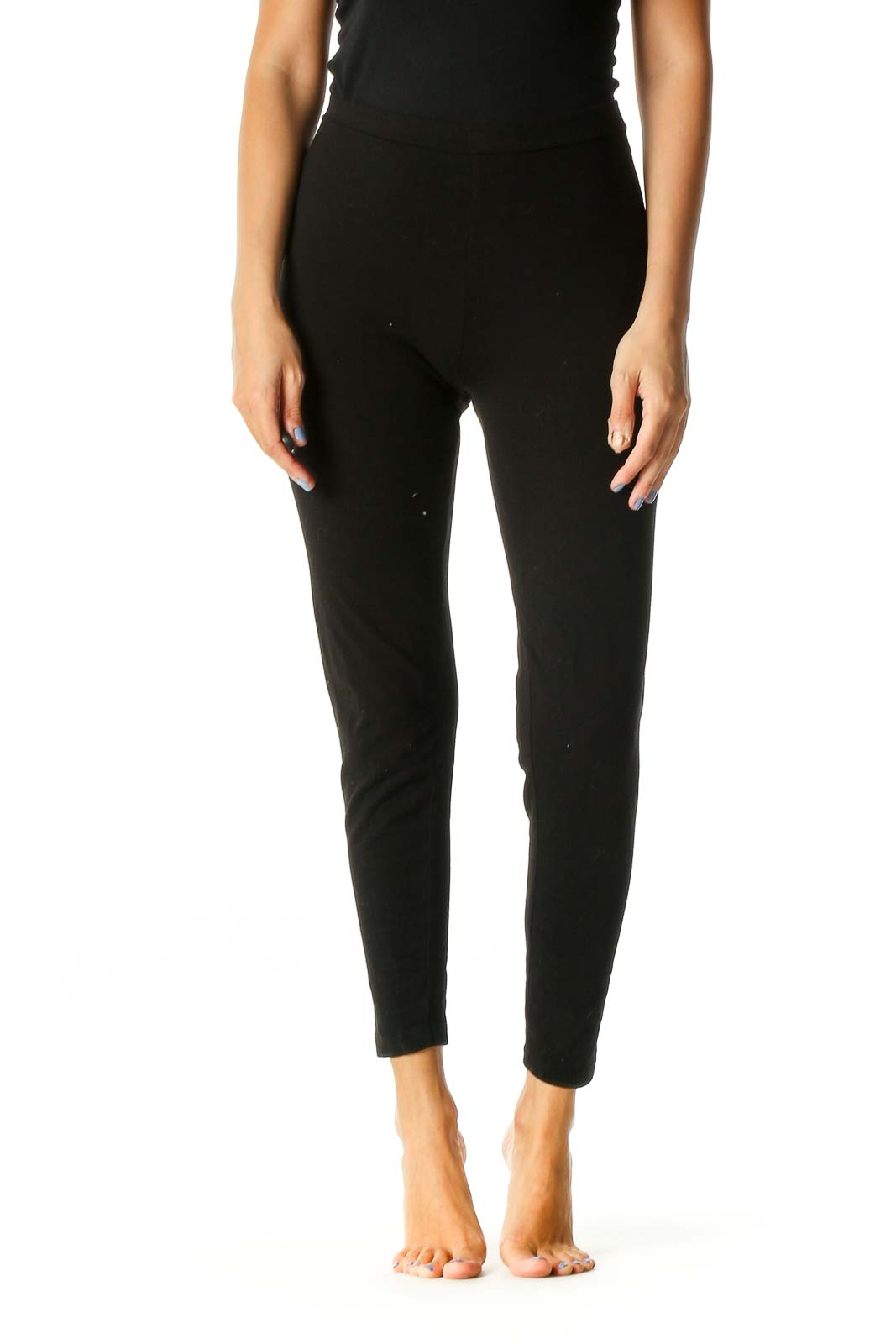 Brown Solid Casual Leggings Front