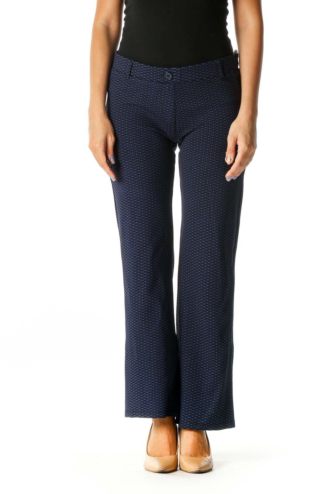 Blue Polka Dot Casual Trousers Front