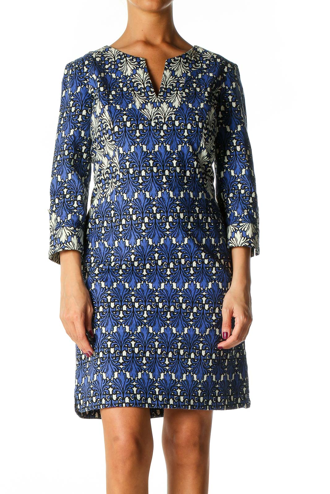 Blue Textured Bohemian Shift Dress Front