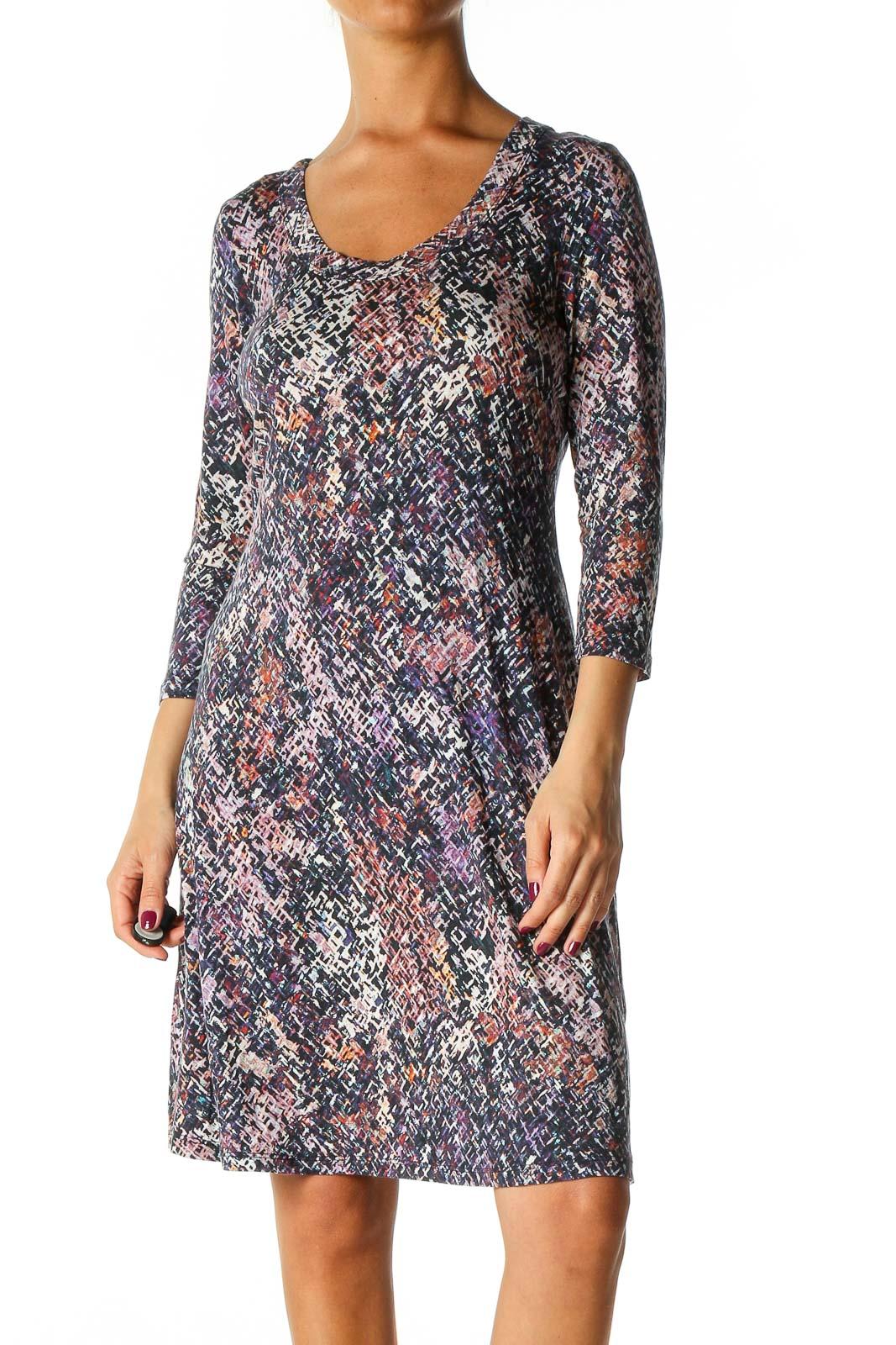 Purple Bohemian A-Line Dress Front