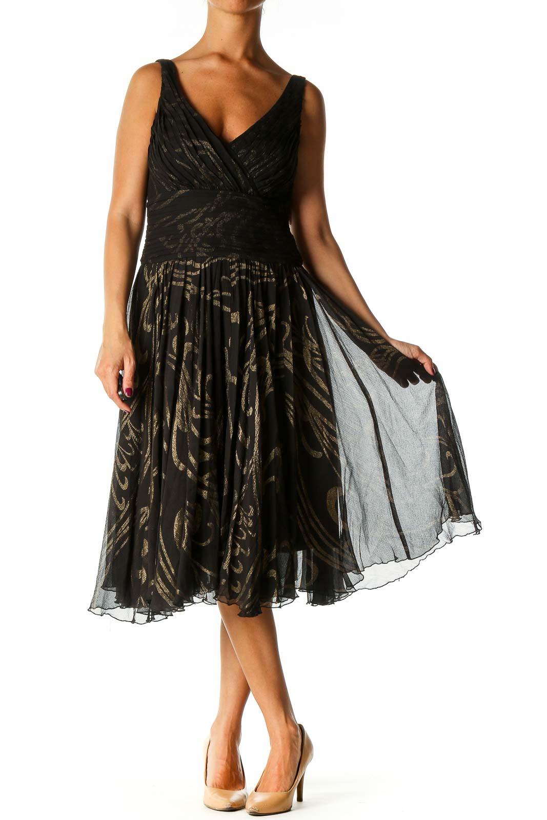 Black Graphic Print Retro Fit & Flare Dress Front