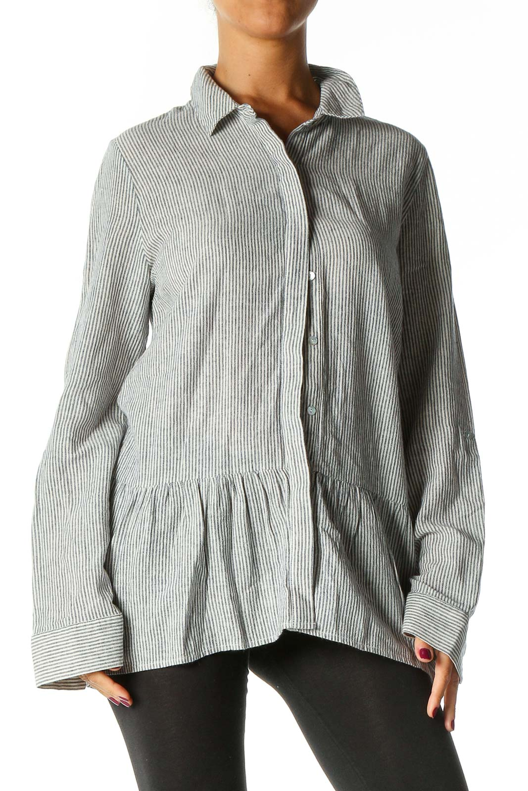 Gray Striped Bohemian Shirt Front