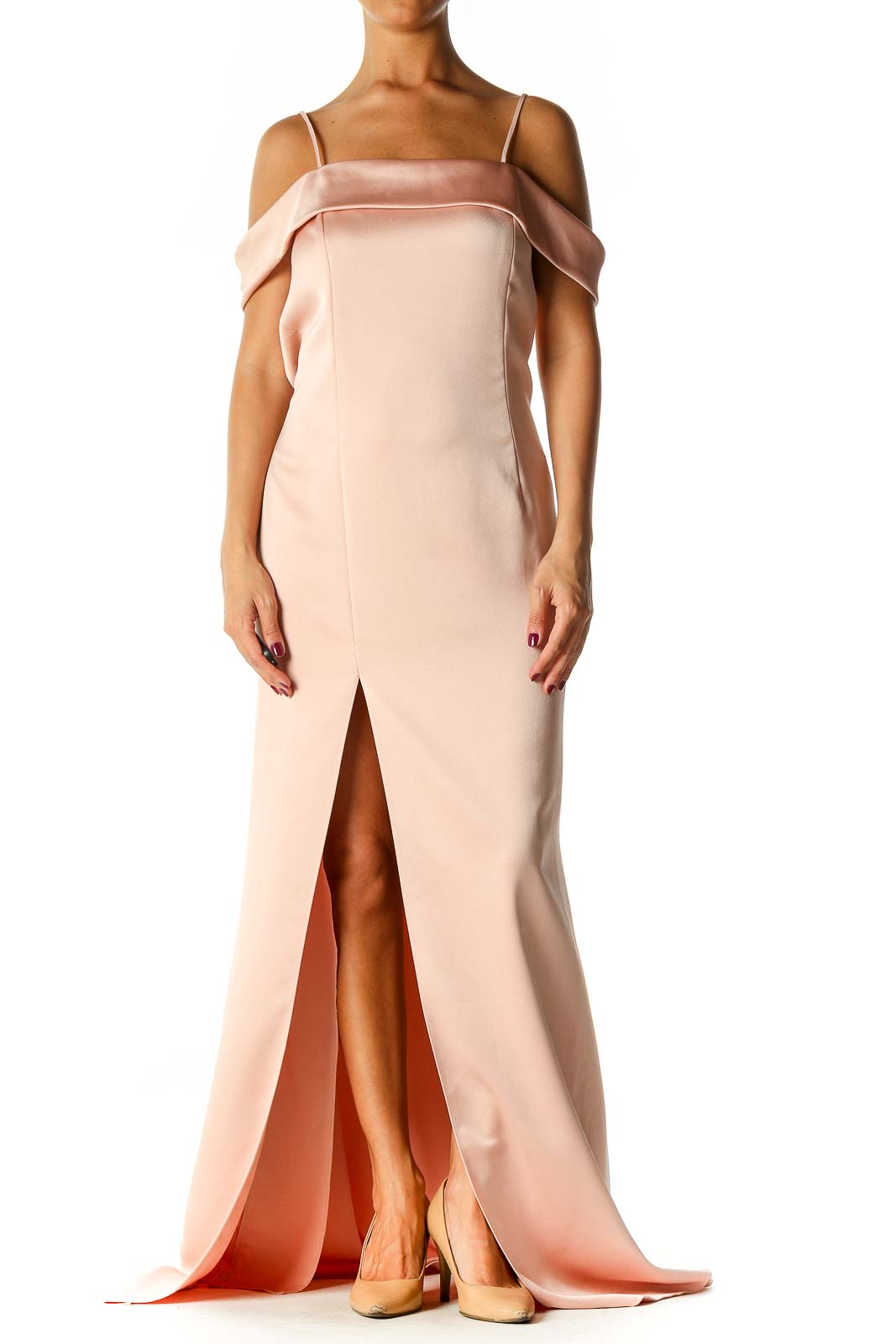 Pink Solid Semiformal A-Line Dress Front