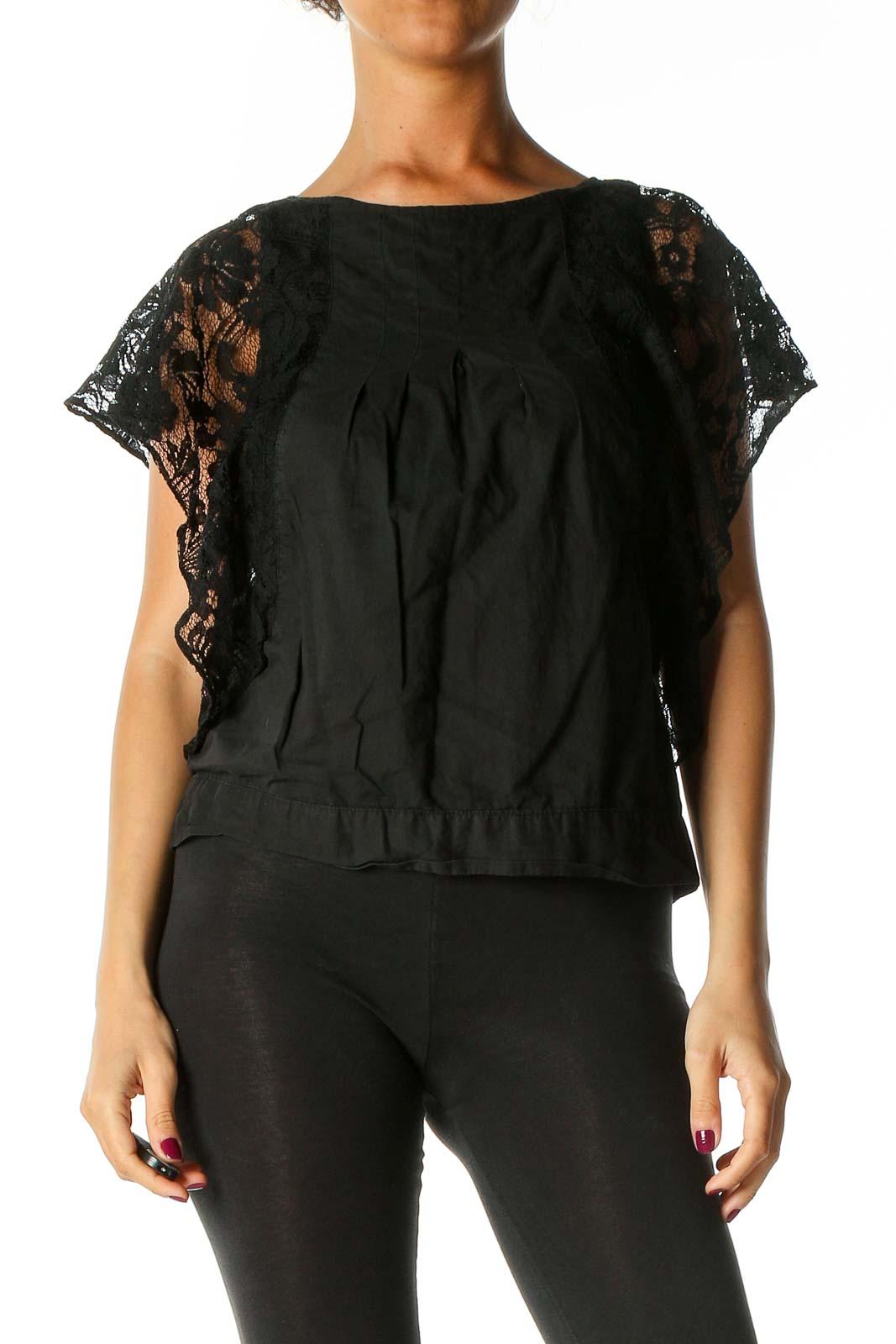 Black Lace Casual Blouse Front