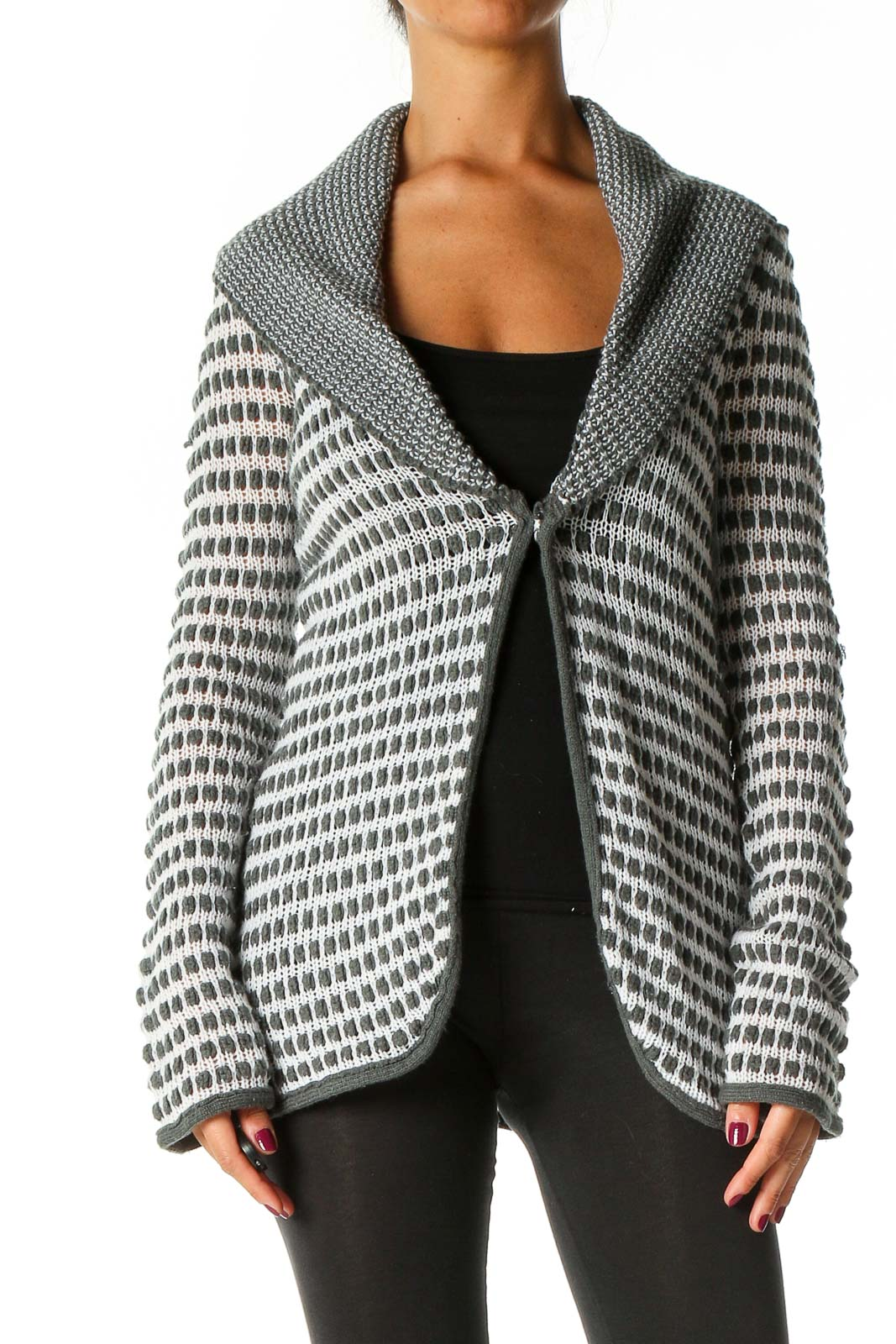 Gray Textured Cardigan Front